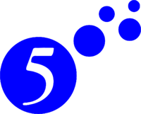 5 bubbles with white 5