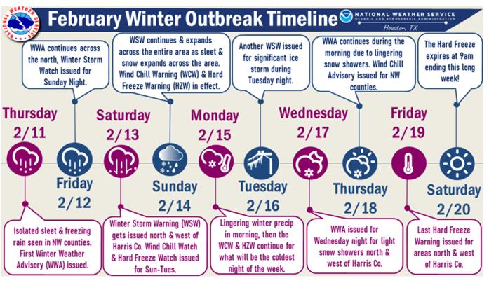 February Winter Outbreak Timeline