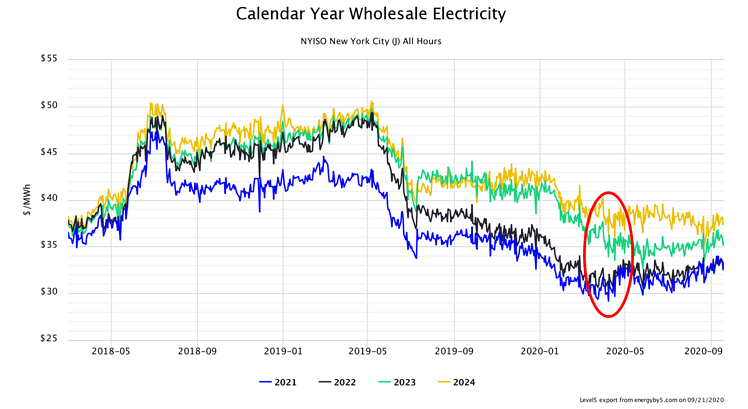 Calendar Year Wholesale Electricity NYISO Zone J